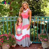 Summer Style Family Matching Outfits mother daughter dresses Contrast Color blue A-Line Dress Ankle-Length mother & kids - Hespirides Gifts - 2
