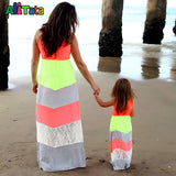 Summer Style Family Matching Outfits mother daughter dresses Contrast Color blue A-Line Dress Ankle-Length mother & kids - Hespirides Gifts - 6
