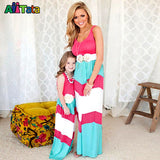 Summer Style Family Matching Outfits mother daughter dresses Contrast Color blue A-Line Dress Ankle-Length mother & kids - Hespirides Gifts - 8