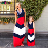 Summer Style Family Matching Outfits mother daughter dresses Contrast Color blue A-Line Dress Ankle-Length mother & kids - Hespirides Gifts - 5