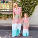 Summer Style Family Matching Outfits mother daughter dresses Contrast Color blue A-Line Dress Ankle-Length mother & kids - Hespirides Gifts - 3