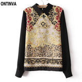 Palace Print Flower Chiffon Blouse women peter pan collar cute tops Long sleeve black blouse for girls new fashion - Hespirides Gifts - 1