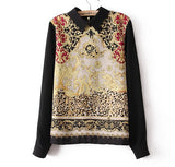 Palace Print Flower Chiffon Blouse women peter pan collar cute tops Long sleeve black blouse for girls new fashion - Hespirides Gifts - 2