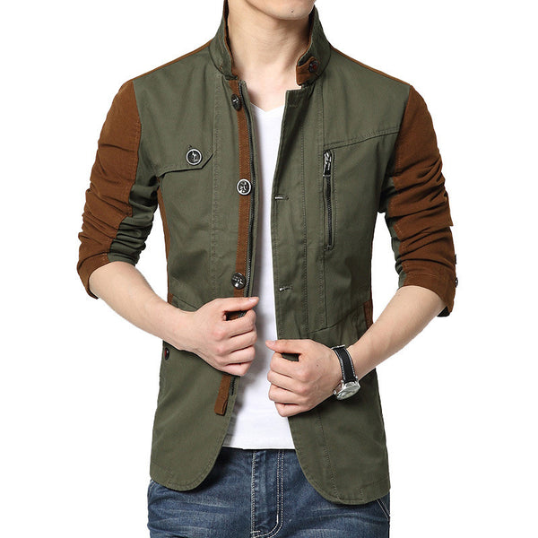 Mens Jackets and Coats Slim-Fit Cotton Patchwork Contrast Color Fashion Trench Full Sleeve Male Parkas - Hespirides Gifts - 2