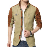 Mens Jackets and Coats Slim-Fit Cotton Patchwork Contrast Color Fashion Trench Full Sleeve Male Parkas - Hespirides Gifts - 4