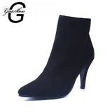 GENSHUO New Latest Ankle Boots Ladies shoes Women boots High heels Plaid shoes Zapatos mujer Fashion Sexy Design for women - Hespirides Gifts - 1