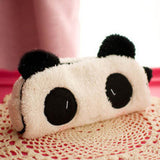 Cute kawaii 3D plush panda pencil case large capacity school supplies noverty item for kids multifunctional - Hespirides Gifts - 1