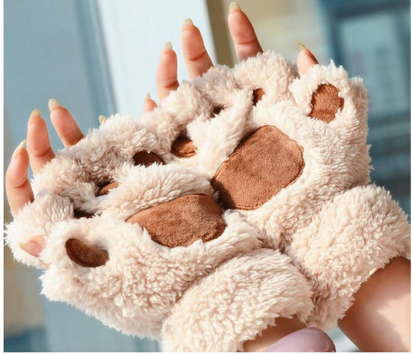 Ladies Winter Fingerless Gloves,Fluffy Bear Cat Plush Paw Claw Half Finger Glove,Soft Half Covered Women Female Gloves Mittens - Hespirides Gifts - 5