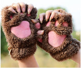 Ladies Winter Fingerless Gloves,Fluffy Bear Cat Plush Paw Claw Half Finger Glove,Soft Half Covered Women Female Gloves Mittens - Hespirides Gifts - 4