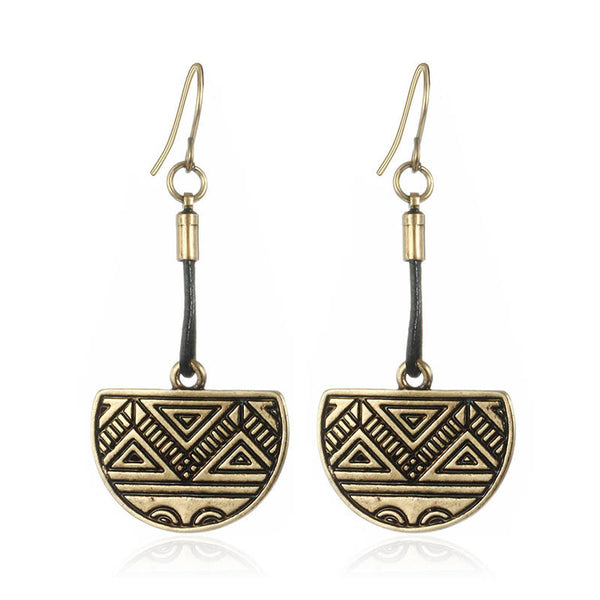 Buy Retro Style Ethnic Leather Earring Vintage Half Round Carved Triangle Shaped Drop Earrings
