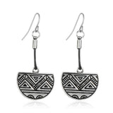Retro Style Ethnic Leather Earring Vintage Half Round Carved Triangle Shaped Drop Earrings Fashion Women Jewelry Accessories - Hespirides Gifts - 2
