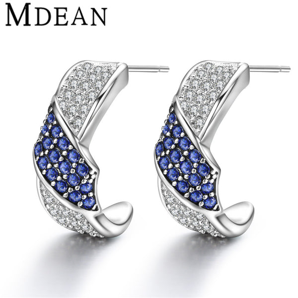 MDEAN Stud Earrings for women White Gold Plated CZ diamond Jewelry AAA zircon boucle d'oreille Wedding earrings brincos MSE064