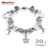 LZESHINE Rhinestone European Pink Color Beads Peacock Charm Women Bracelet Fashion Charm Bracelets Bangles Jewelry Gift PCBR0114
