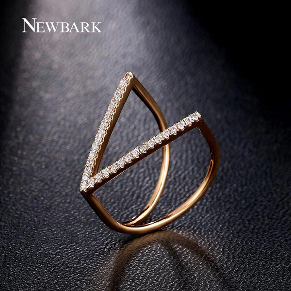 NEWBARK Fashion Accessories Jewelry Ring Unique V Shape Geometric Rings Paved Micro Zirconia Diamond Punk Party Anillos - Hespirides Gifts
