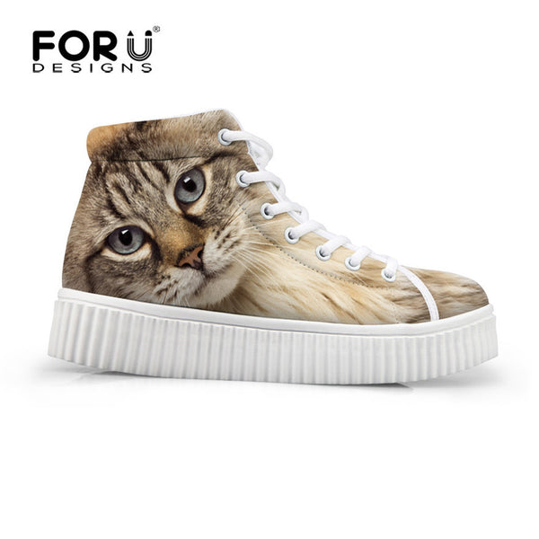 High Top Women Shoes Platform Casual Shoes Owl Thick Sole Breathable Shoes Spring Autumn Flat Shoes Lady Wear-resistant Footwear - Hespirides Gifts - 2