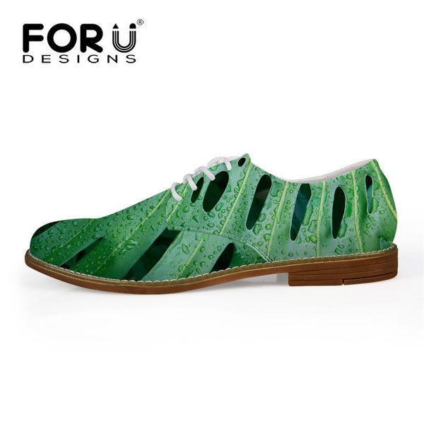 Luxury Men British Flats Shoes Fashion Green Plant Printing Casual Lace-up Men Shoes Formal Shoes Synthetic Leather Oxford Flats - Hespirides Gifts - 3