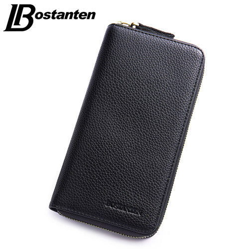 BOSTANTEN Business Men Wallets New Solid PU Leather Long Wallet Zipper Portable Cash Purses Casual Wallets Male Clutch Bag - Hespirides Gifts - 3