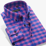 British Style Flannel Plaid Men Casual Shirt Brand Long Sleeve Slim Fit 100% Cotton Fashion Autumn Winter Warm Male Boys Shirt - Hespirides Gifts - 5