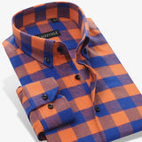British Style Flannel Plaid Men Casual Shirt Brand Long Sleeve Slim Fit 100% Cotton Fashion Autumn Winter Warm Male Boys Shirt - Hespirides Gifts - 2