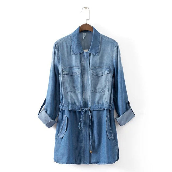 New Autumn Women Drawstring Washed Blue Denim Coat Loose Jeans Trench Outwear YN-3675 - Hespirides Gifts - 2