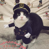 Funny Halloween pet cat dog police costume cosplay with dog police hat small dog puppy party uniform suit jacket clothes - Hespirides Gifts - 1