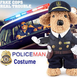 Funny Halloween pet cat dog police costume cosplay with dog police hat small dog puppy party uniform suit jacket clothes - Hespirides Gifts - 2