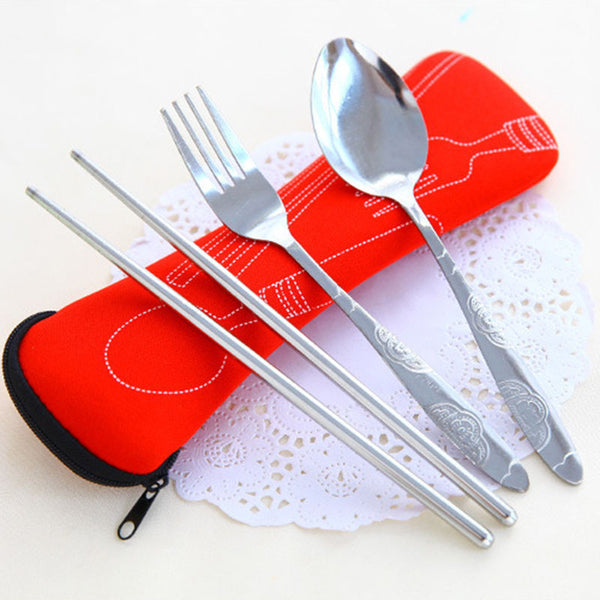 Fork Spoon Travel Stainless Steel Tableware Portable Camping Bag Picnic Free Shipping