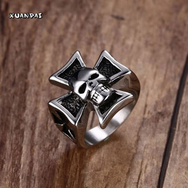 Male Silver Tone Stainless Steel Iron Cross with Skull Ring For Men Gothic Punk Rock Party Biker Jewelry Black Silver Size 7-12 - Hespirides Gifts