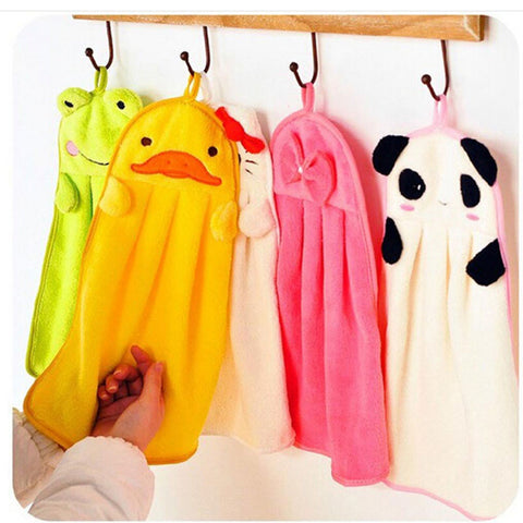 Children Nursery Hand Towel Cartoon Animal Kitchen Bath Hanging Wipe Towel