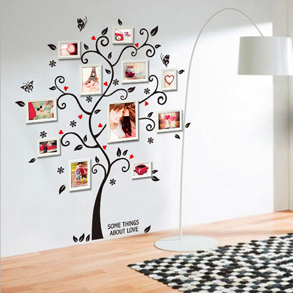 Chic Black Family Photo Frame Tree Butterfly Flower Heart Mural Wall Sticker Home Decor Room Decals - Hespirides Gifts
