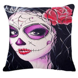 Halloween Skull Masquerade Cushion Cover Halloween Decorative Pillows Devil Bride Flower Beauty Skull Sofa Throw Pillow Cover
