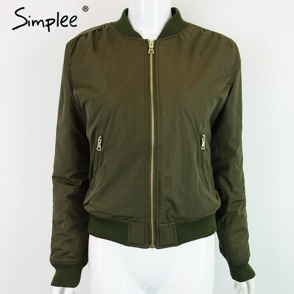 Simplee Apparel Winter parkas cool basic bomber jacket Women Army Green down jacket coat Padded zipper chaquetas biker outwear - Hespirides Gifts - 2