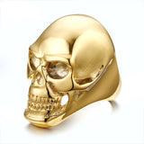 Skull Rock Rings Wholesale Fashion Big Gold/Black Plated Men Ring 316 Stainless Steel Rings For Men Jewelry
