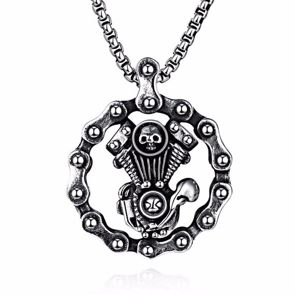 Vintage Jewelry Maya Punk Style Skull Doll 316L Stainless Steel Necklace for Men - Hespirides Gifts