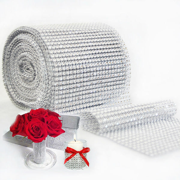 Mesh Trim Bling Diamond Wrap Cake Roll tulle 1 yard/91.5cm Crystal Ribbons Party Wedding Decoration event party supplies - Hespirides Gifts