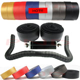 New High Quality Cycling Road Bike Sports Bicycle Cork Handlebar Tape Black + 2 Bar Plug Carbon fiber belt strap FZE002 - Hespirides Gifts - 1