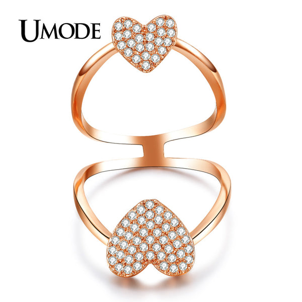 UMODE 18K Gold Plated Micro AAA CZ Diamond Paved Heart Shaped Fashion Full Finger Rings For Women Luxury Jewelry AUR0273A - Hespirides Gifts