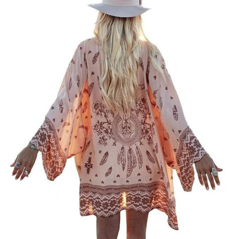 Fashion Women Summer Chiffon Blouse Beach Boho Kimono Cardigan Floral Printed Long Sleeve Casual Loose Long Beach Cover up - Hespirides Gifts - 1