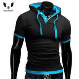 T Shirt Men Brand Fashion Men'S Hooded Collar Sling T Shirt Men Short Sleeve Slim Male Tops Large Size 4XL QSP - Hespirides Gifts - 1
