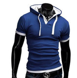T Shirt Men Brand Fashion Men'S Hooded Collar Sling T Shirt Men Short Sleeve Slim Male Tops Large Size 4XL QSP - Hespirides Gifts - 7