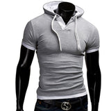 T Shirt Men Brand Fashion Men'S Hooded Collar Sling T Shirt Men Short Sleeve Slim Male Tops Large Size 4XL QSP - Hespirides Gifts - 5