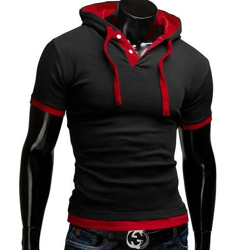 T Shirt Men Brand Fashion Men'S Hooded Collar Sling T Shirt Men Short Sleeve Slim Male Tops Large Size 4XL QSP - Hespirides Gifts - 6