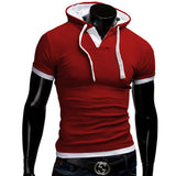 T Shirt Men Brand Fashion Men'S Hooded Collar Sling T Shirt Men Short Sleeve Slim Male Tops Large Size 4XL QSP - Hespirides Gifts - 3