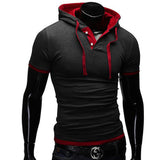 T Shirt Men Brand Fashion Men'S Hooded Collar Sling T Shirt Men Short Sleeve Slim Male Tops Large Size 4XL QSP - Hespirides Gifts - 8