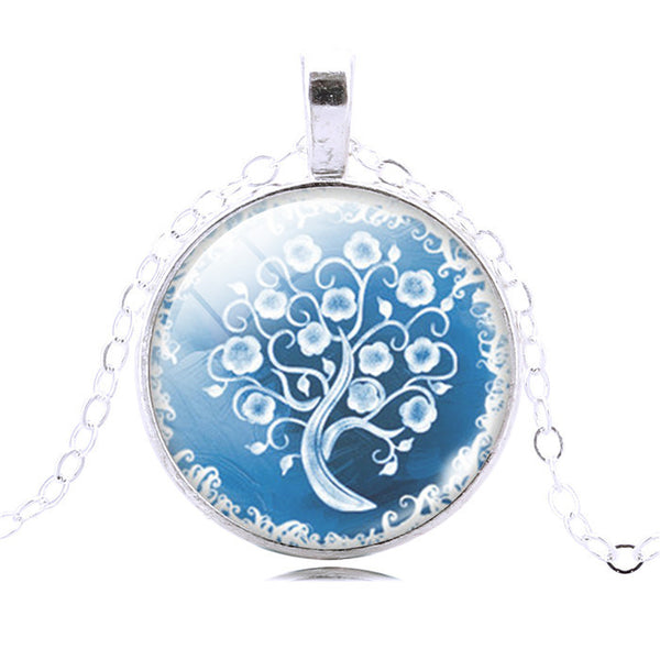 Life Tree glass cabochon Pendant Necklace Art silver chain vintage choker Necklace Fashion women Jewelry - Hespirides Gifts - 16