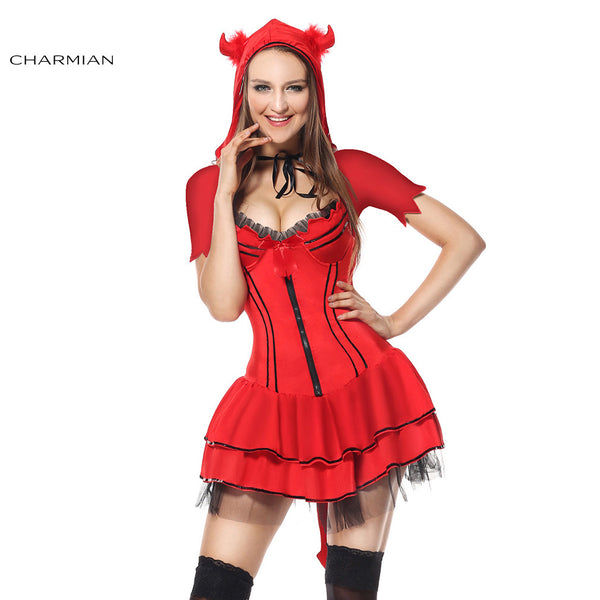 Charmian Women's Plus Size Sexy Red Devil Body Shaper Halloween Cosplay Costume Carnival Party Fantasias Feminina Para Festa - Hespirides Gifts - 2