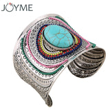 Joyme New Ethnic Jewelry Big Open Wide Arm Cuff Bangle Bracelets For Women Boho Bohemia Turquoise Gem Statement Bangles Armband - Hespirides Gifts - 1
