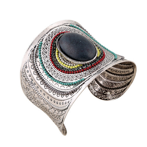 Joyme New Ethnic Jewelry Big Open Wide Arm Cuff Bangle Bracelets For Women Boho Bohemia Turquoise Gem Statement Bangles Armband - Hespirides Gifts - 3