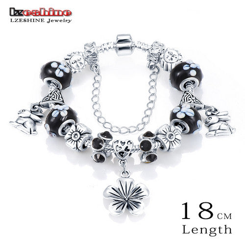 LZESHINE Original European Silver Plated Murano Glass Beads Women Flower Charm Bracelet Authentic Wedding Bands Jewelry PCBR0014 - Hespirides Gifts - 2