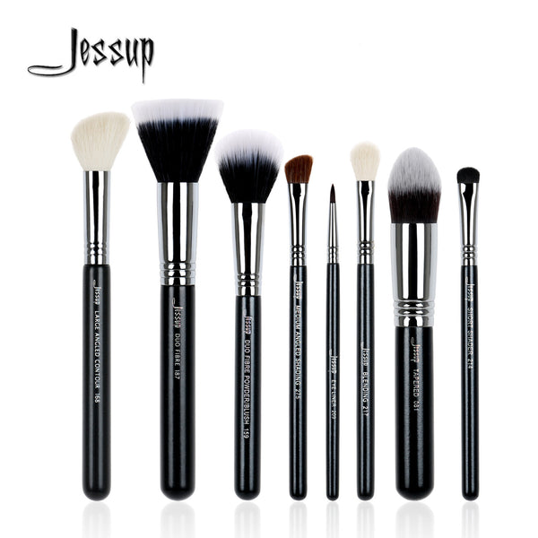Jessup 8Pcs High Quality Pro Makeup Brush Set Kabuki Foundation Blend Duo Fibre Contour Shader Powder Make Up Brushes Tool T120 - Hespirides Gifts